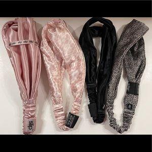 2 Slip Silk Twist Mulberry Headbands black & pink